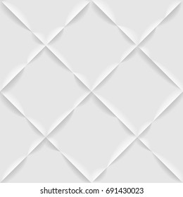 Seamless White Diagonal Plaid Pattern. Embossed Effect Texture Vector Design.