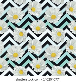 Seamless white flowers neo mint zigzag vector pattern. Black background