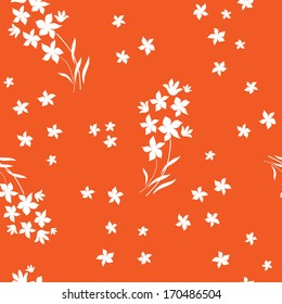 Seamless White Flowers Orange Background