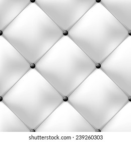 seamless white luxury buttoned leather