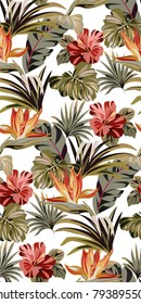 Seamless white pattern with tropical exotic flowers and leaves. Vintage colorful pattern with plants. Bright summer pattern.