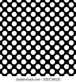 Seamless white polka dot pattern on black. Vector illustration.