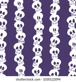 Seamless White Skull Pole Ultra Violet Structured Background Vector Pattern