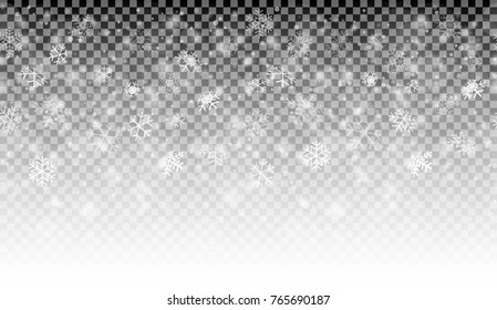 seamless white snow fall background with transparency in vector file