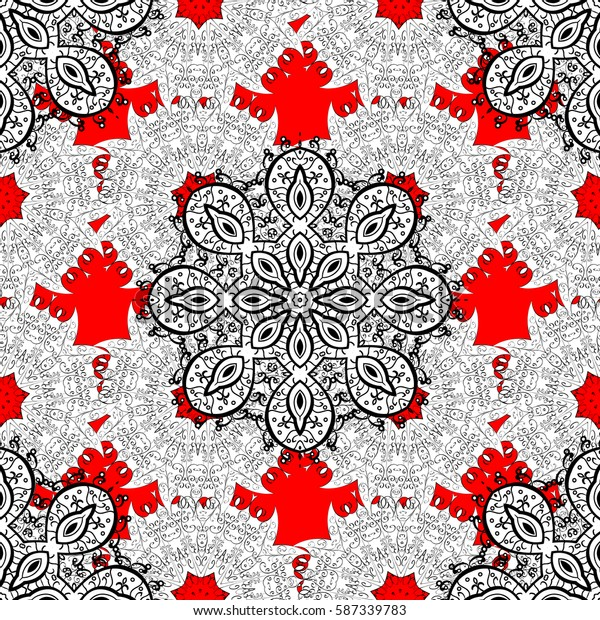 Seamless white texture curls. Oriental style arabesques. Brilliant lace, stylized flowers, paisley. Openwork delicate white pattern. Seamless pattern on red background with white elements. Vector.