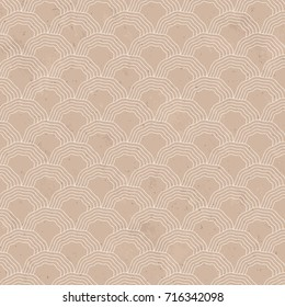 Seamless White Wave Scales Brown Paper Pattern