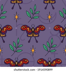 Seamless wicca pattern with hummingbird hawk-moths, stars and twigs. Dark magic - esoteric print design. Witch or Gypsy - pagan and occult seamless ornament