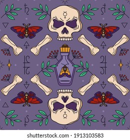 Seamless wicca pattern with skull, bones and potion bottle. Herbal healing and shamanism - esoteric print design. Witch of Darkness, Dark magician, Gypsy - pagan and occult seamless ornament