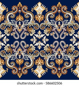 seamless wide border with contrast  ornate ornament - paisley, curls, decorative elements