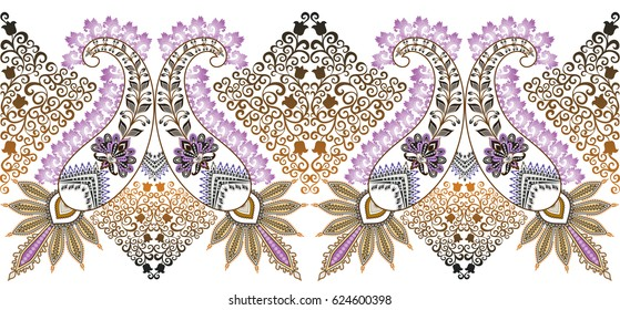 seamless wide border with ornate paisley,decorated light purple festoons,  ornament of curls and flowers in yellow brown  tint