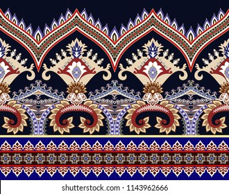 seamless wide horizontal border with tooth edge, decorative curls,  small elements in beige, red and blue tint on a dark background