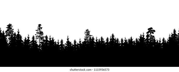 Seamless, wide silhouette of tree and forest peaks - isolated on white background, vector
