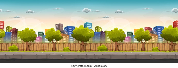 Seamless Wide Street City Landscape/ Illustration of a wide seamless cartoon urban city landscape with funny buildings and skyscrapers, for game ui scenery