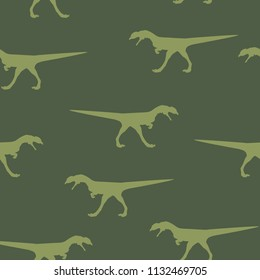 Seamless wild animal pattern big green Dinosaur silhouette, repeat texture. Kid baby boy drawn outline dino fossil military wallpaper, cute decorative print camouflage for fabric cloth, vector eps 10