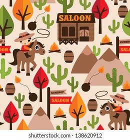 Seamless wild west cowboy saloon illustration kids background pattern in vector