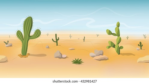 Seamless Wild West desert landscape background for game in cartoon style. Cartoon desert with cacti and stones. Vector illustration EPS 10