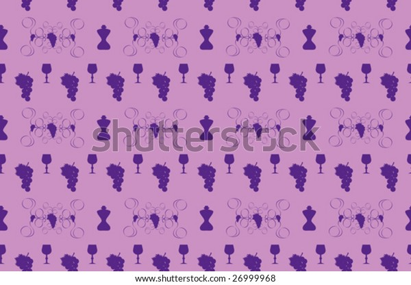 Seamless wine pattern, curly elements, bottles, glasses …
