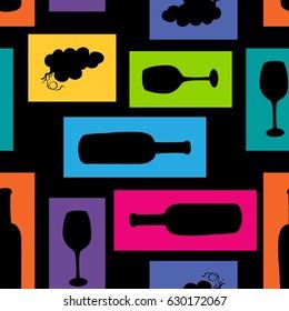 Seamless wine pattern, vector illustration