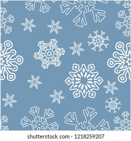 Seamless winter background with various  snowflakes. Vector graphic  pattern.