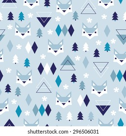 Seamless winter blue geometric pastel holidays theme fox forest and triangle christmas tree woodland background pattern in vector