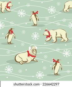 Seamless winter Christmas background with arctic animals