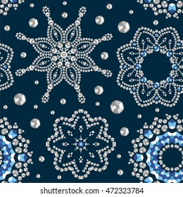 Seamless winter Christmas snowflake crystal precious wallpaper, card. Beautiful new year jewelry, fabric, shawl, frame. Fashion pattern brilliant stones, silver applique rhinestones - stock vector