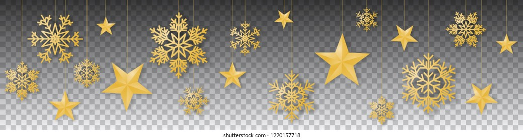 Seamless winter christmas vector with sumptuous hanging gold colored snowflakes and stars on transparent background.