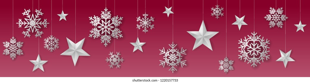 Seamless winter christmas vector with sumptuous hanging silver colored snowflakes and stars on red background.