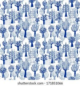 Seamless winter forest pattern