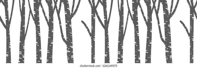 Seamless winter forest pattern. Winter landscape with tree stems in flat style. Black and white winter wide horizontal background and backdrop. Cartoon vector illustration. Christmas image. EPS 10
