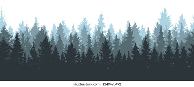 Seamless winter forest, silhouette of spruces. Vector illustration.