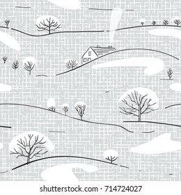 Seamless winter hand drawn pattern with hills, trees and house on a coarse fabric background for wallpaper, pattern fills, printing on fabric, digital paper. Scandinavian style illustration in vector.