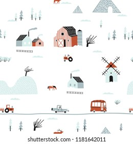 Seamless winter landscape. Pattern with house, trees, horses, mills and hills. Europe nature landscape concept. Perfect for kids fabric, textile, nursery wallpaper. Seamless landscape.