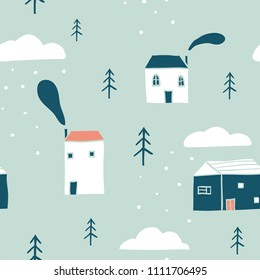 Seamless winter landscape pattern. Scandinavian simple minimalist houses, trees, clouds and snow. Funny map texture. Cute stylized city. Hand drawn cartoon illustration for children textile, fabric