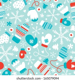 Seamless winter mittens and gloves christmas illustration background pattern in vector