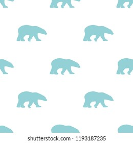 seamless winter pattern with blue polar bears silhouettes. vector flat Christmas ornament on white background. winter texture.