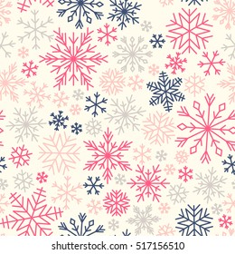 Seamless winter pattern with colorful snowflakes. Girlish cute style. Vector flat design.