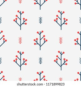 Seamless winter pattern with red berries. Simple vector background of nordic geometrical style.