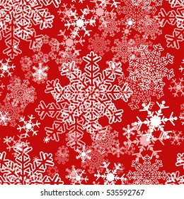 Seamless winter Pattern with Snowflakes - red and white