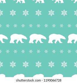 seamless winter pattern with white  snowflakes and polar bears. vector flat Christmas ornament on powder blue background. winter reindeer texture.