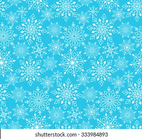 Seamless Winter Snow Flakes Background Pattern in Blue Color. Continuous Vector Illustration