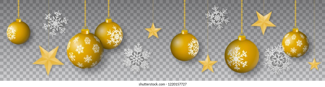 Seamless winter vector with sumptuous hanging gold colored decorated christmas ornaments, golden stars and silver snowflakes on transparent background.
