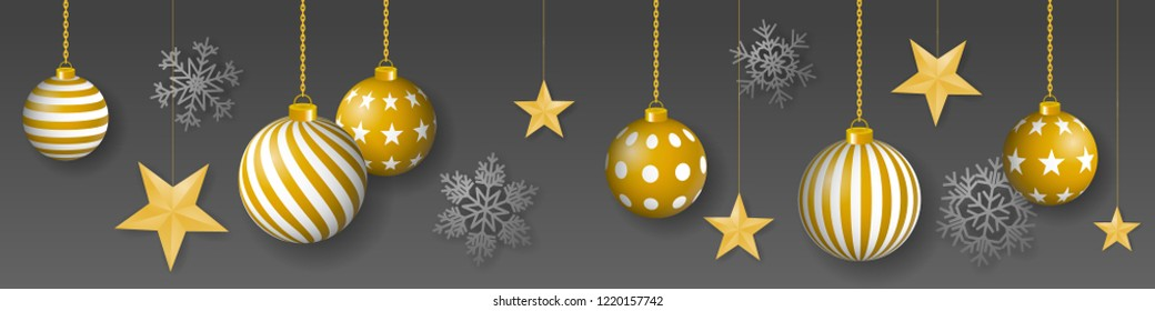 Seamless winter vector with sumptuous hanging gold colored decorated christmas ornaments, golden stars and silver snowflakes on gray background.
