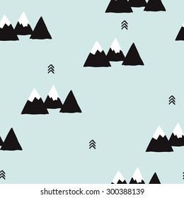 Seamless winter wonderland geometric black and white mountain theme illustration triangle abstract landscape background pattern in vector