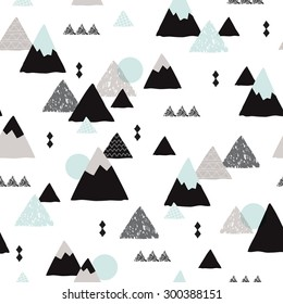 Seamless winter wonderland geometric japanese fuji mountain theme illustration triangle abstract landscape background pattern in vector