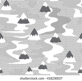 Seamless winter wonderland geometric mountain illustration triangle abstract landscape background. Seamless background pattern with polka dot. Black and white pattern. dotted background.