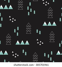 Seamless winter wonderland geometric night abstract christmas theme tree mountains and snow illustration scandinavian style background pattern in vector