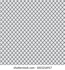 Seamless wired steel grid netting fence pattern black and white,  Barbed metal mesh fence prison barrier, Chain link fence wire mesh Vector illustration