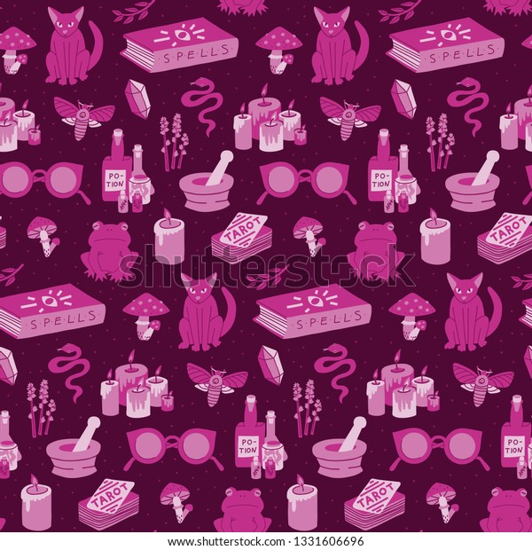 Seamless Witchy Pattern Handdrawn Cartoon Mystic Stock Vector