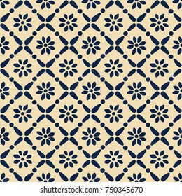 Seamless woodblock printed ethnic pattern. Vector floral geometric ornament, traditional Russian folk motif with daisy flowers and diamond print, indigo blue on ecru background.